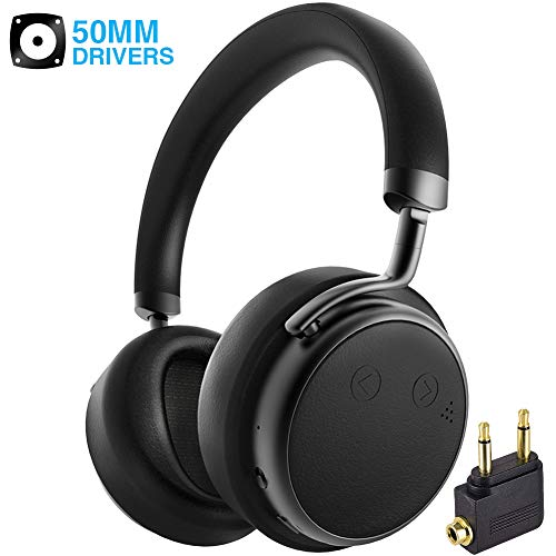 Active Noise Cancelling Headphones Bluetooth, Siros H5D Over Ear Wireless Headphones Dual 50mm Drivers Deep Bass with Microphone & Airplane Adapter, Comfortable for iPhone TV PC Travel Work Black