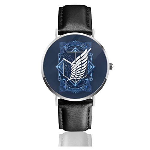 Unisex Business Casual Attack On Titan Art Deco Uhren Quarz Leder Uhr mit schwarzem Lederband für Männer Frauen Junge Kollektion Geschenk