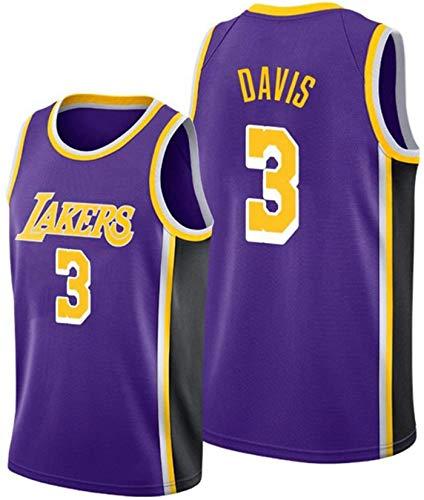 XHDH Jersey De Baloncesto para Hombres, NBA Lakers # 3 Davis Jersey, Baloncesto Deportes De Ocio Sin Mangas Sin Mangas Cuello Redondo De La Camiseta,Púrpura,XL 180~185cm