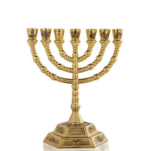YU FENG 7 Kerzenhalter Menora für Shabbat, Tabernakel, Home Decor Ornaments, Tischdekoration hellgoldfarben