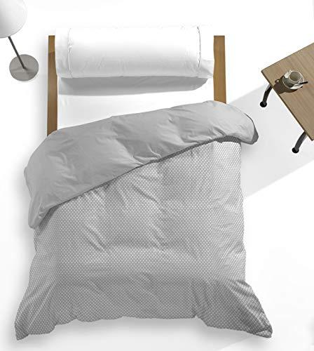 Catotex - Funda nórdica topitos Estampada + Lisa Reversible Trasera para edredón. 50% algodón 50% Poliester. Cama 90 cm Gris. Modelo Luana