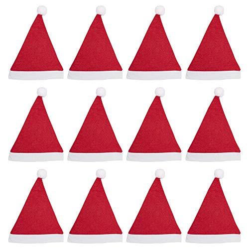 Pack 12 Gorro Papá Noel de Navidad de Santa Claus de Terciopelo de Felpe Suave Sombreros Rojos Navideño de Invierno para Fiesta Festiva de Año Nuevo para Adultos Unisex (FYQ-12, ADULTO)