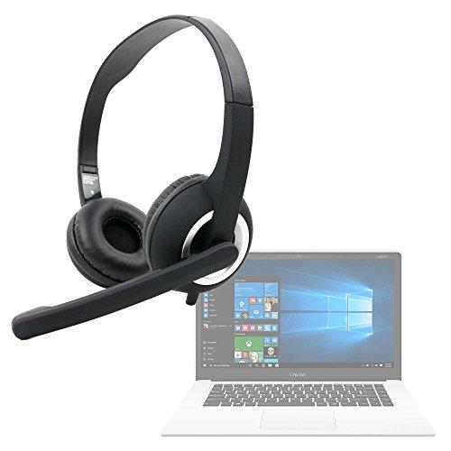 DURAGADGET Auriculares de Diadema Negros con micrófono móvil, Mando de Volumen y Doble Salida minijack para Portátil Chuwi LapBook Air/InnJoo LeapBook A100 / Prixton Netbook 10.1