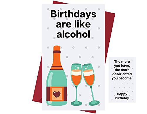 Funny Happy Birthday Card for Men & Women – Birthday Card for Alcohol Drinkers - Prank Birthday Card – Funny Birthday Card for Friends, Family, Coworkers, Etc. – Alcohol Birthday Card - with Envelope