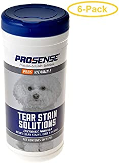 eCOTRITION Pro-Sense Plus Tear Stain Solutions for Dogs 50 Count - Pack of 6