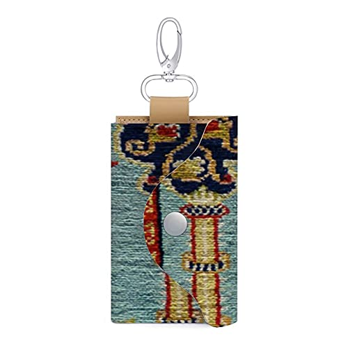 Alfombra turca Kilim de piel sintética antigua para llaves de coche, bolsa de llaves, llavero para mujeres y hombres
