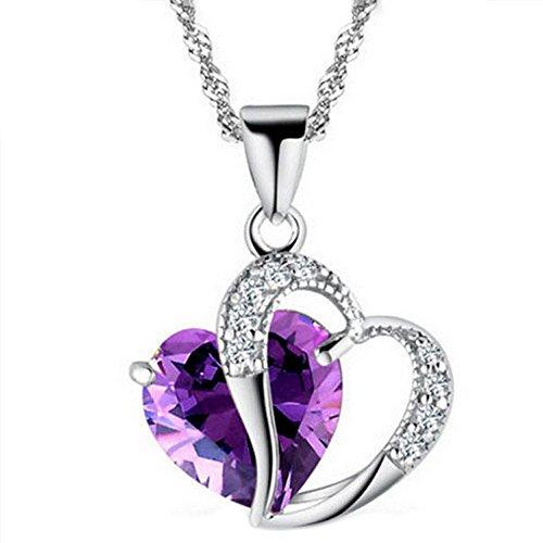 Allence Collar de plata para mujer con cadena de plata de ley de 45 cm, doble amor, infinito, varios diseños, morado, Talla única