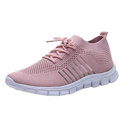 Damen Laufschuhe Fliegen Weben Sneaker Socken Schuhe Turnschuhe Freizeitschuhe Student Leichte Sportschuhe für Trainning Running Fitness Gym Walking Jogging Laufen, Rosa, 37 EU