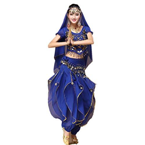 Geilisungren Aladdin Kostüm Damen Bauchtanz Kostüm Blau Karnevalkostüm Oberteil Schleier Hüfttuch Hose Volkstanzkostüm Tanzkostüm Pailletten Top Rüschen Hosen Set