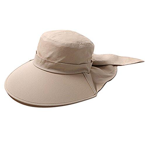 Chapeau à bord extérieur large Protection anti-UV Modèle pliable et ajustable idéal pour le vélo , Femme, kaki, 57.5 cm