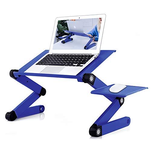 RAINBEAN Soporte para ordenador portátil, ajustable, soporte para ordenador portátil, mesa portátil para la cama, escritorio ergonómico con alfombrilla para ratón, mesa para ordenador Vented 17IN