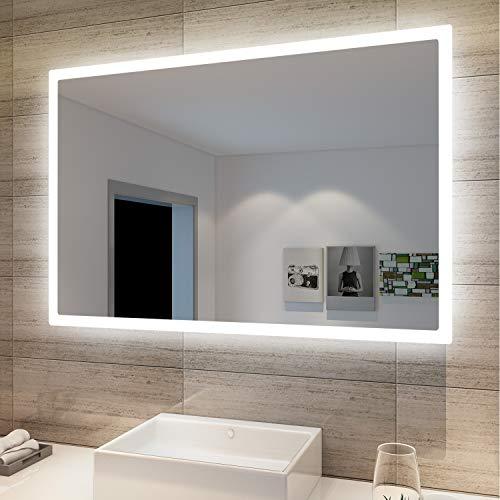 SONNI Badspiegel mit Beleuchtung 60 x 40cm LED Badspiegel mit Wandschalter Badezimmerspiegel Wandspiegel Lichtspiegel IP44