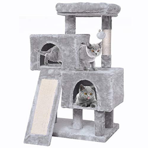 JISSBON Tiragraffi per gatti, altezza 96 cm, con camera di peluche, corda in sisal, adatto per gatti di piccola taglia