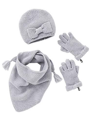 Vertbaudet Schal, Mütze und Handschuhe für Mädchen grau 86/92