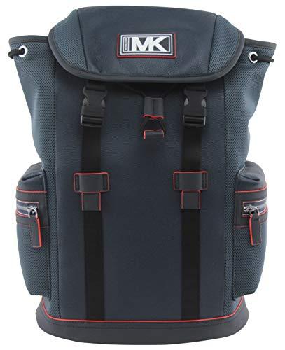 MICHAEL Michael Kors Men's Cooper Leather and Mesh Pocket Backpack In Navy Neon Orange , Style 37U0MCOB6L.