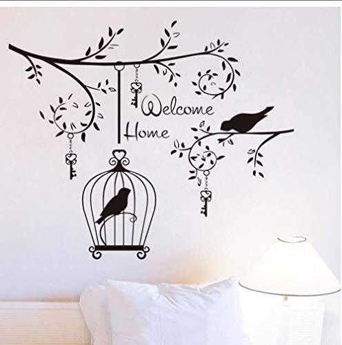 zxwd Welcom Home Vögel Im Baum Wandaufkleber Für Wohnzimmer Dekoration Hängen Schlüssel UndVogelkäfigVinyl AbnehmbareWandtattoos 69 Cm X 58 Cm