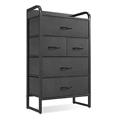 CubiCubi Dresser Storage Tower, 5 Drawers Fabric Organizer Unit for Bedroom Hallway Entryway Closets, Small Dresser Clothes Storage with Sturdy Steel Frame Wood Top, Dark Black