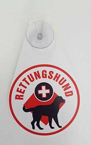 AUTOPLAKETTE Tropfenform, mit Sauger 'RETTUNGSHUND'