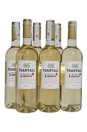6x 750ml Tsantali Moscatos Limnos Weißwein edelsüß griechischer Muscat-Wein 15% Süßwein Likörwein Dessertwein Set sortenrein + 2x10ml Olivenöl von Kreta Griechenland