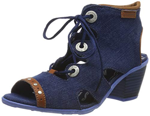 MUSTANG Damen 1221-814-841 Peeptoe Sandalen, Blau (Jeansblau 841), 40 EU