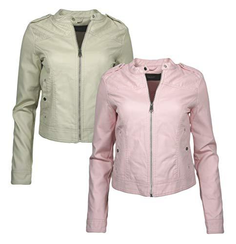 VERO MODA Damen Jacke PU Lederjacke vmalice Übergangsjacke Bikerjacke Beige Oatmeal Rosa Rose Shadow, Größe:M, Farbe:Rosa