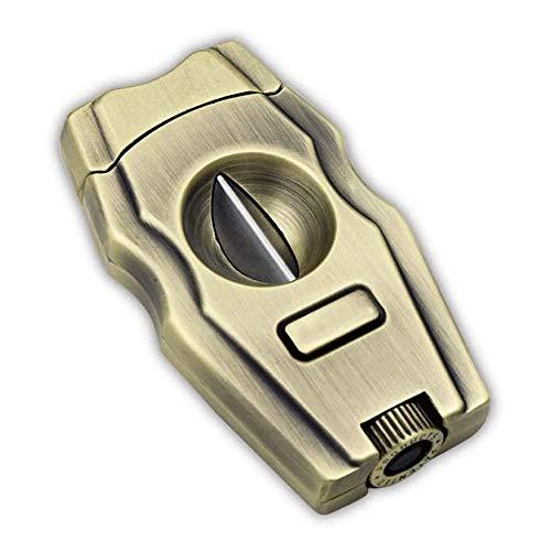 Sdesign Acero Inoxidable Cortador de Puros de Bolsillo del cigarro Double Tool Cortador de Guillotina Hojas de Las Tijeras Tamaño Adecuado for la mayoría de los cigarros, Negro (Color : Gold)