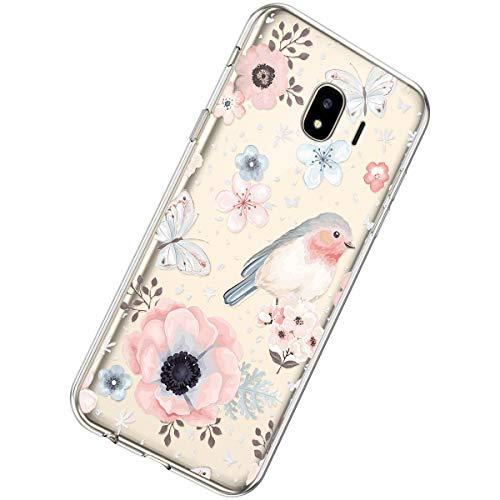 Herbests Kompatibel mit Samsung Galaxy J4 2018 Hülle Transparent Handyhülle Bunt Muster Weiche Durchsichtig Silikon Ultra Dünn Stoßfest TPU Schutzhülle Bumper Case Cover,Schmetterling Vogel