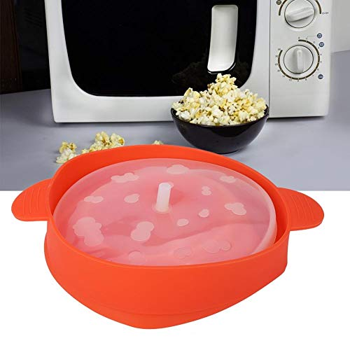 Great Price! Meiyya Silicone Collapsible Popcorn Bucket,Red Microwave Bucket with Handle Lid Safe Ma...