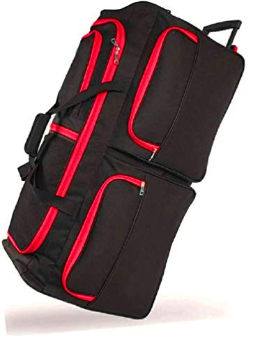 DK Luggage Travel Bag Wheeled Holdall Extra Large 34' Suitcase 3 Wheels Black with Red Trimming