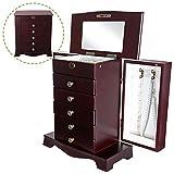 Flex HQ Wooden Vintage Jewelry Treasure Armoire Cabinet Chest Big Storage Box Organizer Drawer 39' Tall with Mirror Green