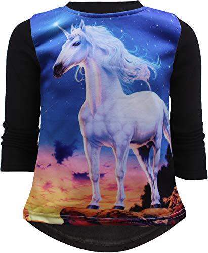 Unbekannt Einhorn Unicorn Mädchen Kinder Sweatshirt Pullover 3D Druck Bluse Langshirt Pulli (122-128, Schwarz)
