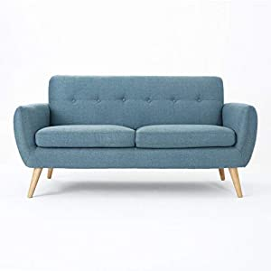 Christopher Knight Home Josephine Mid-Century Modern Petite Fabric Sofa, Blue / Natural