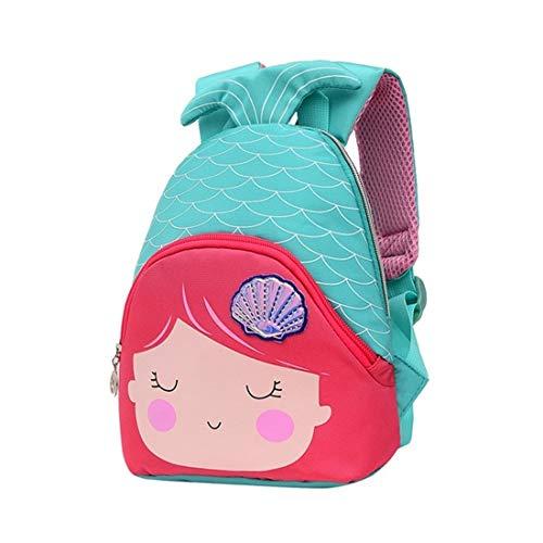 Xlabor - Mochila Infantil de Sirena con Correa para el Pecho para niños y niñas Verde Verde Menta Small
