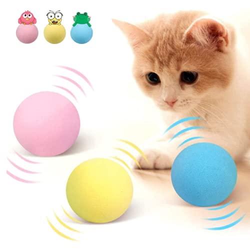 LKJYBG Bolas de Hierba gatera para Gatos, 3 Juguetes interactivos para Gatos con gatillo Inteligente, Juguete de Bolas para Gatos, Pelota chirriante para Interiores, Llamadas de Animales Reale