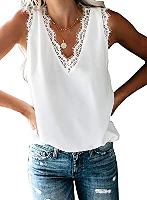 BLENCOT Women Ladies Sexy V Neck Lace Trim Tank Tops Casual Loose Sleeveless Blouse Shirts Work White XL