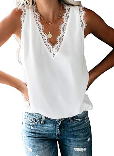 BLENCOT Women Ladies Sexy V Neck Lace Trim Tank Tops Casual Loose Sleeveless Blouse Shirts Work White M