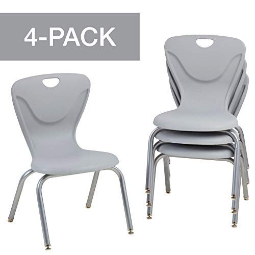 FDP 16' Contour School Stacking Student Chair, Ergonomic Molded Seat Shell with Powder Coated Silver Frame and Swivel Leg Glides; For In-Home Learning or Classroom - Light Gray (4-Pack)