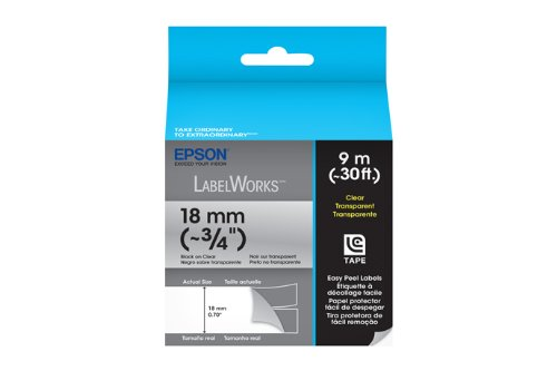 Epson LabelWorks Clear LC Tape Cartridge ~3/4-Inch Black on Clear (LC-5TBN9)