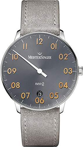 MeisterSinger Mens Form und Stil neo q Quarz Sunburst mittelgrau NQ907GN