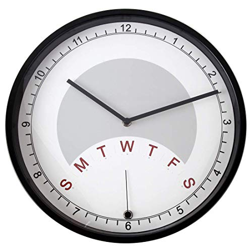 Lily's Home Day Clock Wall Clock Indicating Day of The Week | A Fun Retirement Gift – Large 13 3/4 Inch Diameter (Black)
