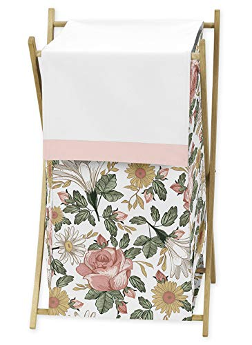 Sweet Jojo Designs Vintage Floral Boho Baby Kid Clothes Laundry Hamper - Blush Pink, Yellow, Green and White Shabby Chic Rose Flower Farmhouse