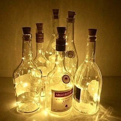 No-branded PDHCC 10pcs Cork 20 LEDs Fairy Light Solar Wine Bottle String Light Copper Wire Night Light for Garden Party Decor Light (Emitting Color : Warm White, Size : Free)