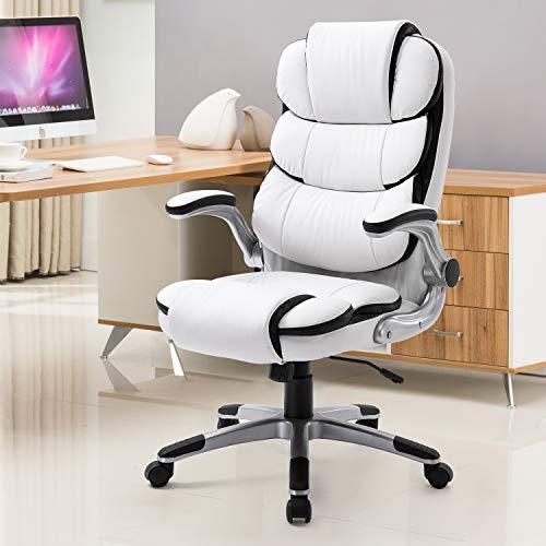 YAMASORO Leather Memory Foam Office Chair - Adjustable Tilt Angle High Back Executive Computer Desk Chair White…