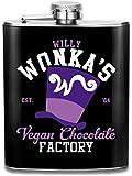 Willy Wonkas - Petaca de bolsillo con impresión de fábrica de chocolate vegano con diseño de flagón de acero inoxidable portátil de 7 oz
