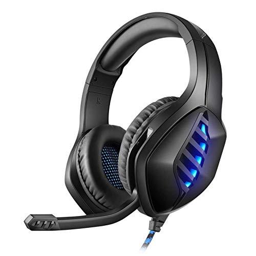 ZZMY - Auriculares estéreo para juegos con micrófono y luz LED para PS4 portátil, PC Gamer