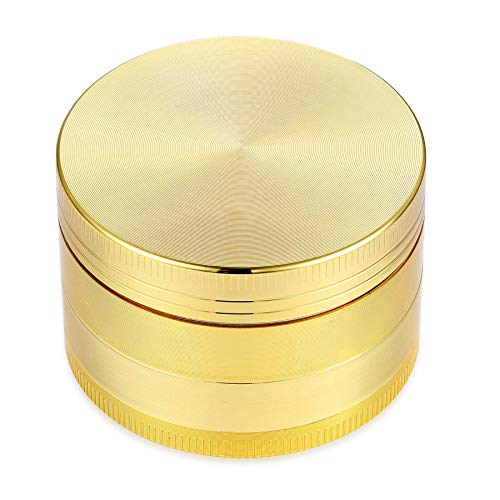 4 Piece 2' Spice Herb Grinder with Pollen Catcher - Durable Ring Included for an Easy and Fast Grinding Experience - Grinder with Kief Catcher Metal Crusher with Magnetic Lid – Gold