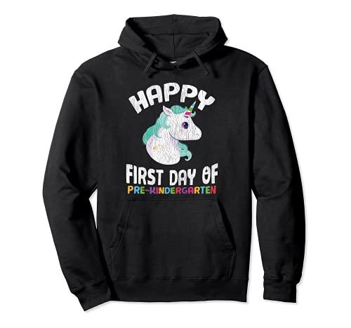 Feliz Pre-K Primer Día De Preescolar Regreso A La Escuela Unicornio Sudadera con Capucha