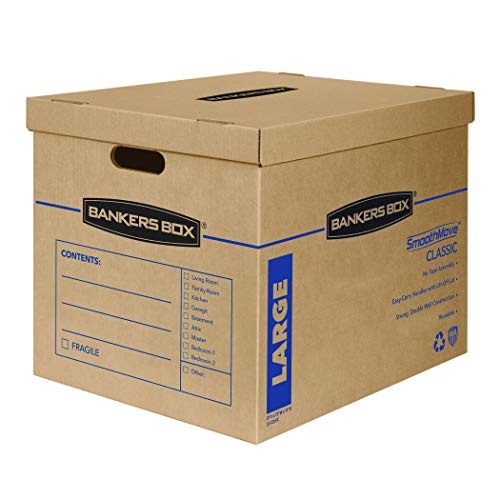 Bankers Box SmoothMove Classic Moving Boxes, Tape-Free Assembly, Easy Carry Handles, Large, 21 x 17 x 17 Inches, 5 Pack (7718201)