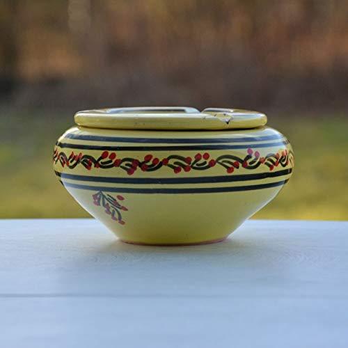 Yodeco - Cendrier marocain Tatoué jaune citron - Moyen modèle