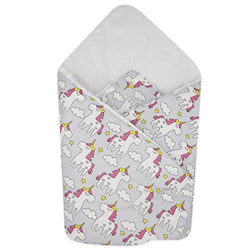 BlueberryShop manta de algodón para envolver al bebé en el coche| Saco de dormir para bebés recién nacidos | Para bebés de 0-3 meses | Regalo perfecto para Baby Shower | 78 x 78 cm | Gris Unicornio
